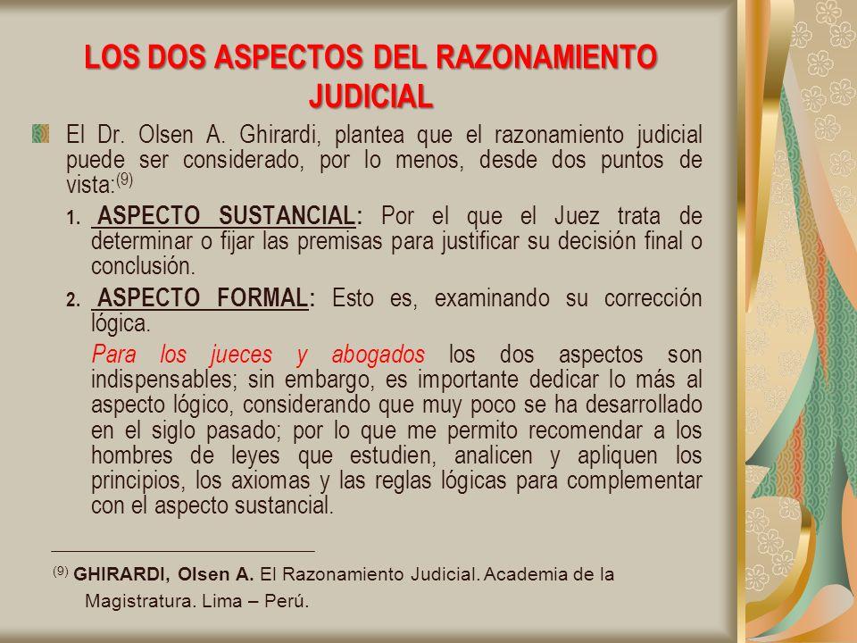 LOS DOS ASPECTOS DEL RAZONAMIENTO JUDICIAL El Dr.Olsen A.