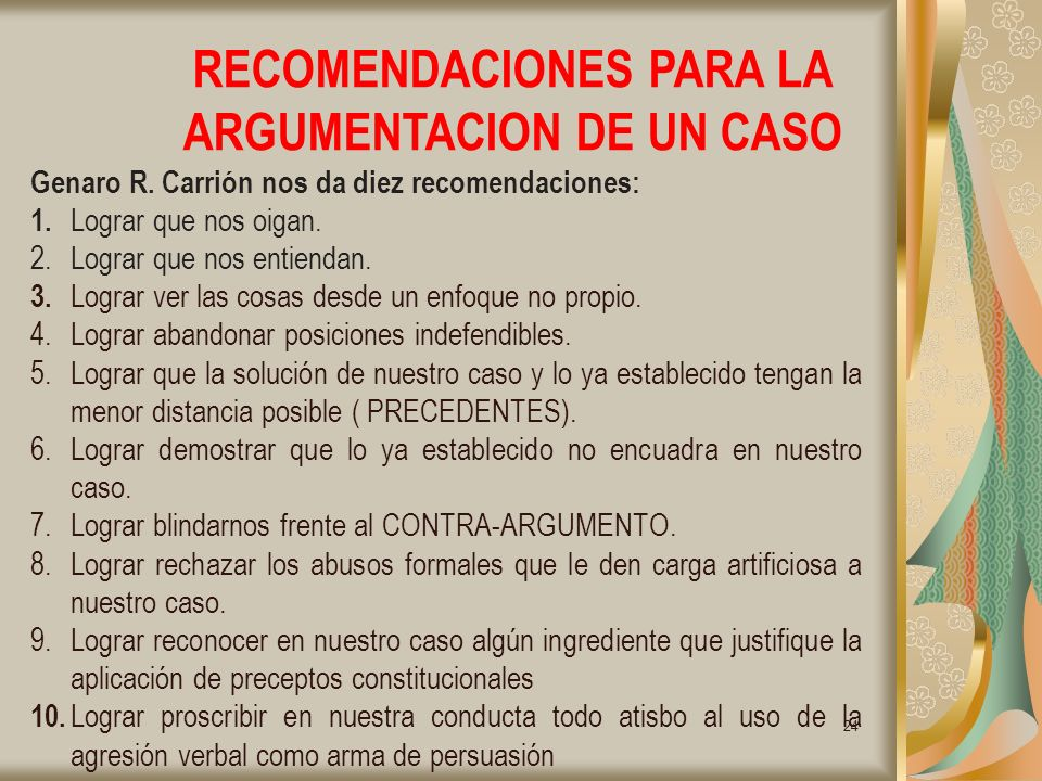 24 RECOMENDACIONES PARA LA ARGUMENTACION DE UN CASO Genaro R.