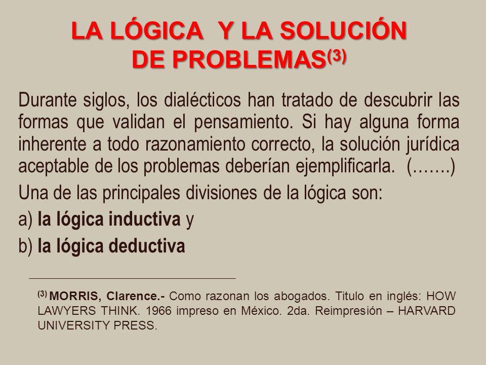 LA LÓGICA Y LA SOLUCIÓN DE PROBLEMAS (3) Durante siglos, los dialécticos han tratado de descubrir las formas que validan el pensamiento.