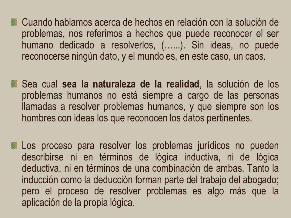 Cuando hablamos acerca de hechos en relación con la solución de problemas, nos referimos a hechos que puede reconocer el ser humano dedicado a resolverlos, (…...).