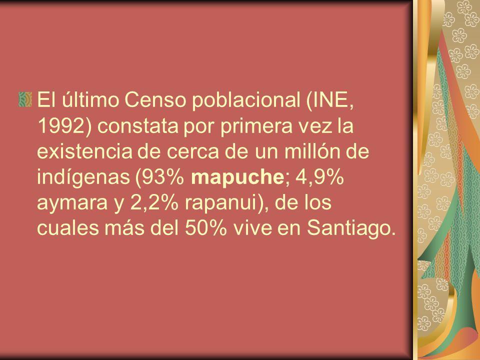 El último Censo poblacional (INE, 1992) constata por primera vez la existencia de cerca de un millón de indígenas (93% mapuche; 4,9% aymara y 2,2% rap