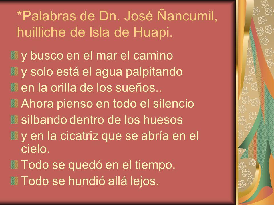*Palabras de Dn. José Ñancumil, huilliche de Isla de Huapi. y busco en el mar el camino y solo está el agua palpitando en la orilla de los sueños.. Ah