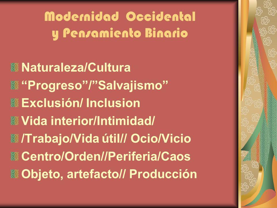 Modernidad Occidental y Pensamiento Binario Naturaleza/Cultura Progreso/Salvajismo Exclusión/ Inclusion Vida interior/Intimidad/ /Trabajo/Vida útil//