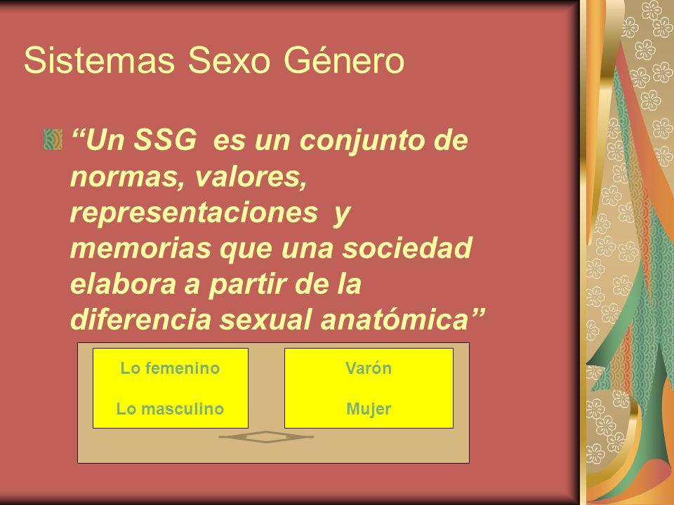 Sistemas Sexo Género Un SSG es un conjunto de normas, valores, representaciones y memorias que una sociedad elabora a partir de la diferencia sexual a