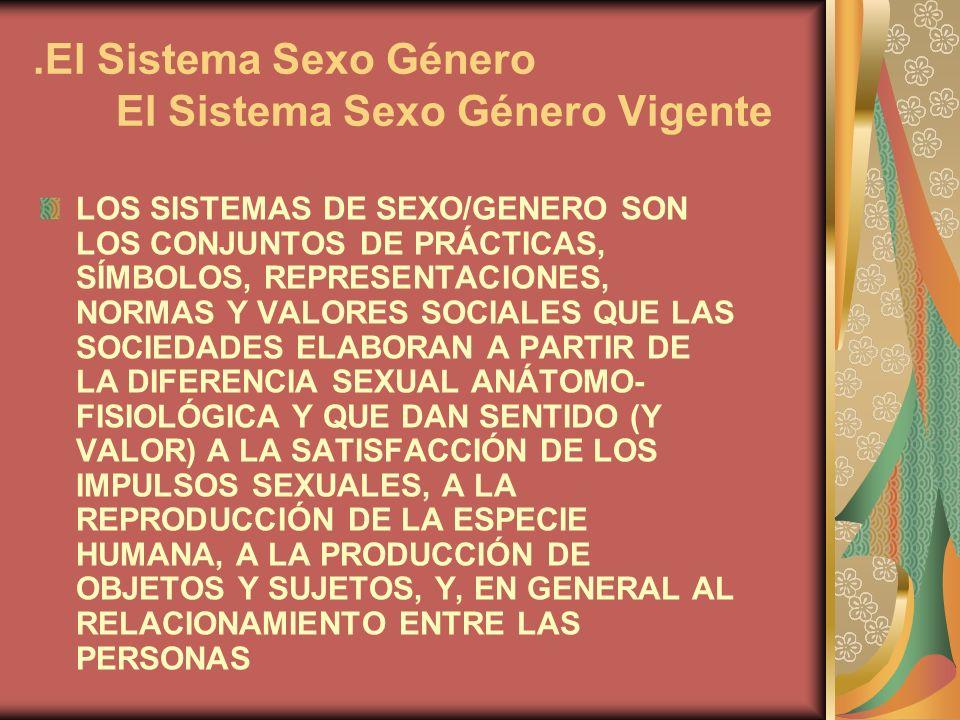 .El Sistema Sexo Género El Sistema Sexo Género Vigente LOS SISTEMAS DE SEXO/GENERO SON LOS CONJUNTOS DE PRÁCTICAS, SÍMBOLOS, REPRESENTACIONES, NORMAS