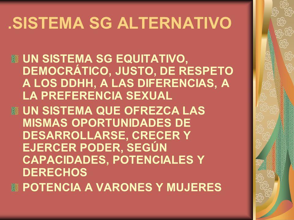 .SISTEMA SG ALTERNATIVO UN SISTEMA SG EQUITATIVO, DEMOCRÁTICO, JUSTO, DE RESPETO A LOS DDHH, A LAS DIFERENCIAS, A LA PREFERENCIA SEXUAL UN SISTEMA QUE