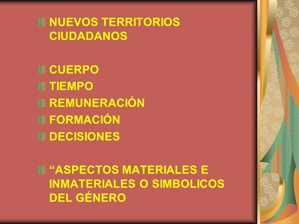 NUEVOS TERRITORIOS CIUDADANOS CUERPO TIEMPO REMUNERACIÓN FORMACIÓN DECISIONES ASPECTOS MATERIALES E INMATERIALES O SIMBOLICOS DEL GÉNERO