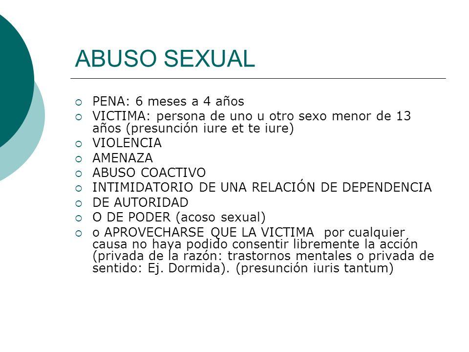 ABUSO SEXUAL AGRAVANTES: segundo párrafo PENA: 4 a 10 años Cuando el abuso por su duración o circunstancias de su realización hubiere configurado un SOMETIMIENTO SEXUAL GRAVEMENTE ULTRAJANTE PARA LA VICTIMA.
