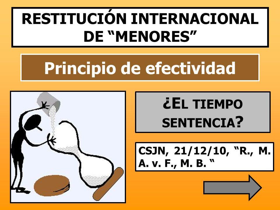Principio de efectividad CSJN, 21/12/10, R., M. A. v. F., M. B. RESTITUCIÓN INTERNACIONAL DE MENORES ¿E L TIEMPO SENTENCIA ?