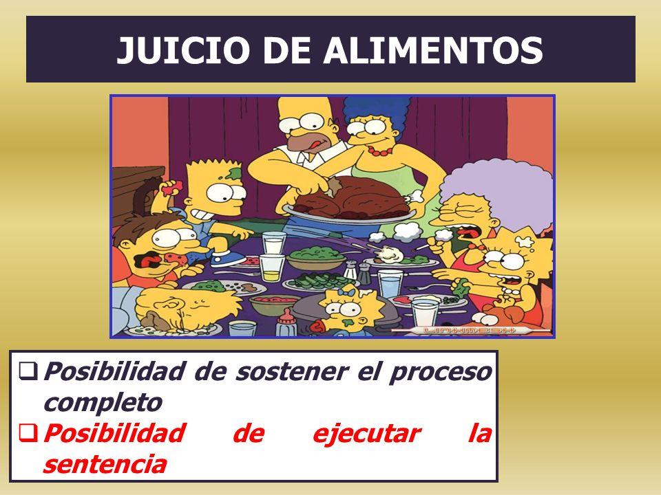 JUICIO DE ALIMENTOS Posibilidad de sostener el proceso completo Posibilidad de ejecutar la sentencia