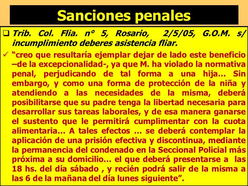 Sanciones penales Trib. Col. Flia. n° 5, Rosario, 2/5/05, G.O.M. s/ incumplimiento deberes asistencia fliar. creo que resultaría ejemplar dejar de lad