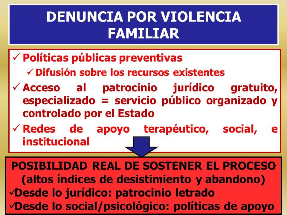 DENUNCIA POR VIOLENCIA FAMILIAR Políticas públicas preventivas Difusión sobre los recursos existentes Acceso al patrocinio jurídico gratuito, especial