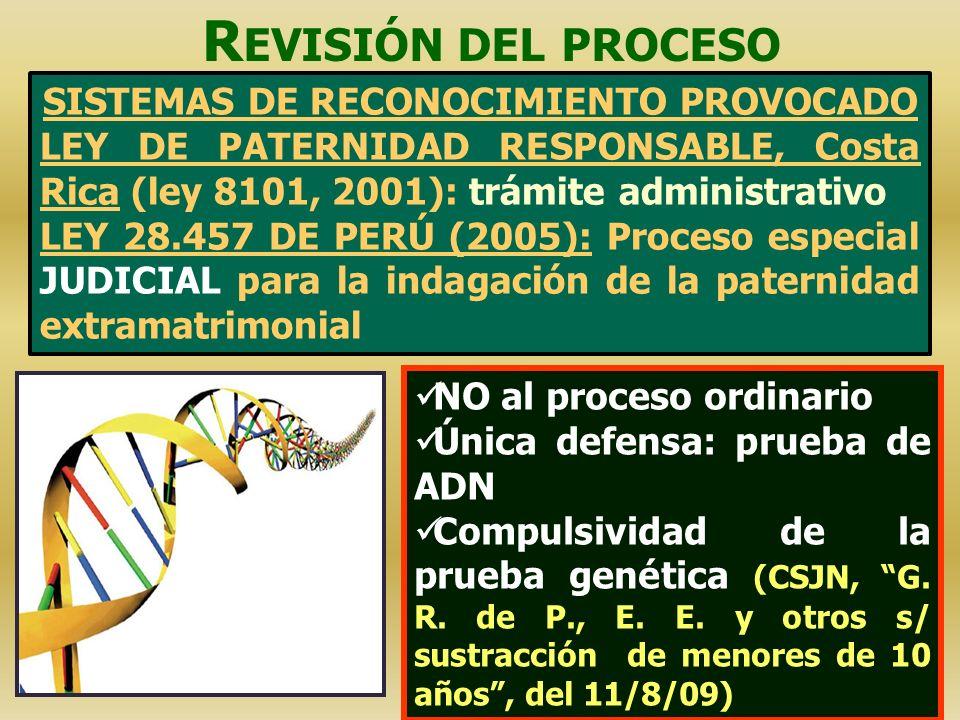 NO al proceso ordinario Única defensa: prueba de ADN Compulsividad de la prueba genética (CSJN, G. R. de P., E. E. y otros s/ sustracción de menores d