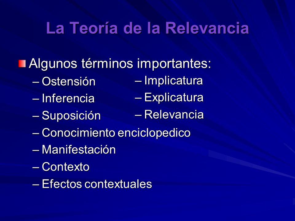 La Teoría de la Relevancia Algunos términos importantes: –Ostensión –Inferencia –Suposición –Conocimiento enciclopedico –Manifestación –Contexto –Efec