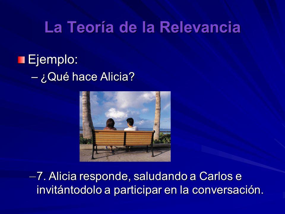 La Teoría de la Relevancia Ejemplo: –¿Qué hace Alicia? – 7. Alicia responde, saludando a Carlos e invitántodolo a participar en la conversación.