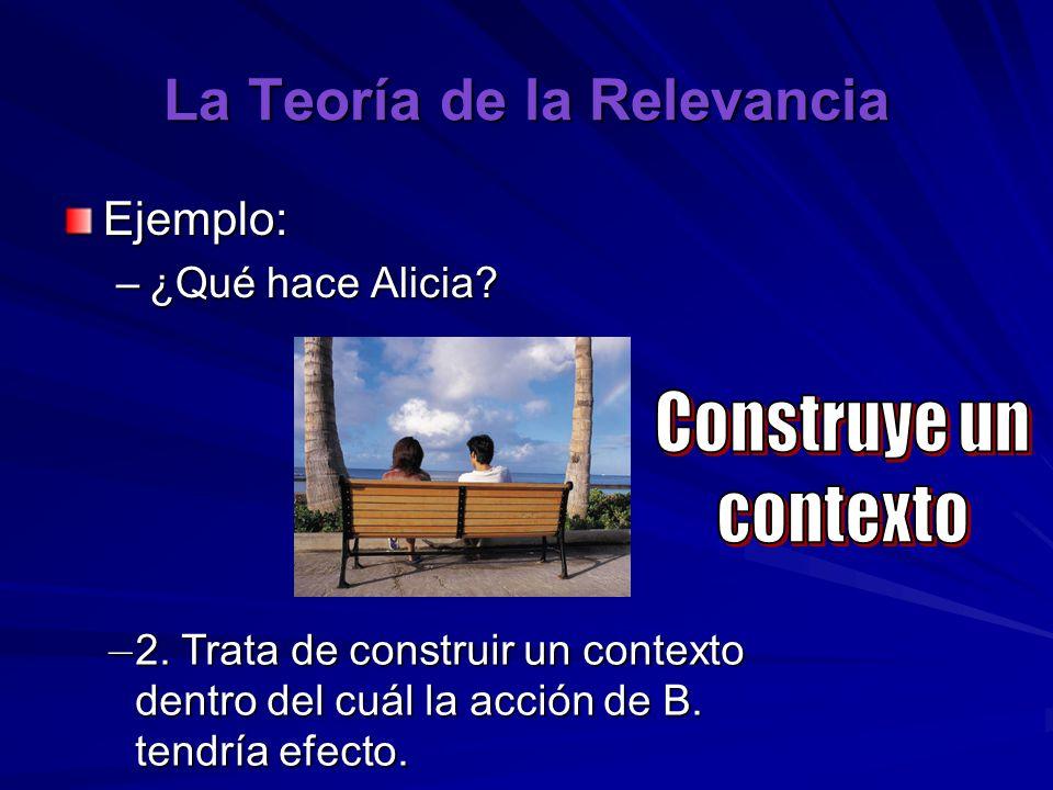 La Teoría de la Relevancia Ejemplo: –¿Qué hace Alicia? – 2. Trata de construir un contexto dentro del cuál la acción de B. tendría efecto.
