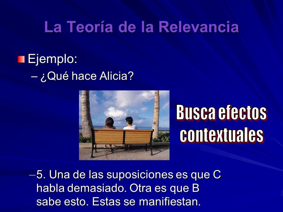 La Teoría de la Relevancia Ejemplo: –¿Qué hace Alicia? – 5. Una de las suposiciones es que C habla demasiado. Otra es que B sabe esto. Estas se manifi