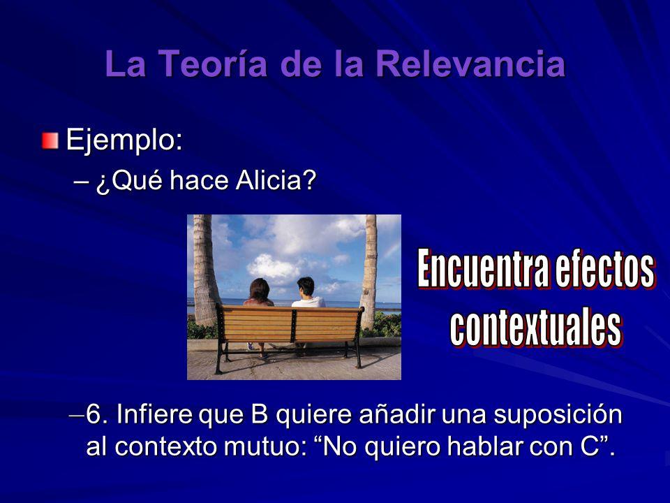 La Teoría de la Relevancia Ejemplo: –¿Qué hace Alicia? – 6. Infiere que B quiere añadir una suposición al contexto mutuo: No quiero hablar con C.