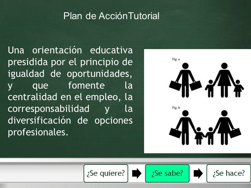 Una orientación educativa presidida por el principio de igualdad de oportunidades, y que fomente la centralidad en el empleo, la corresponsabilidad y