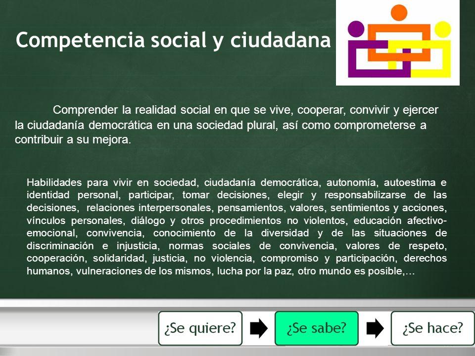 Competencia social y ciudadana Comprender la realidad social en que se vive, cooperar, convivir y ejercer la ciudadanía democrática en una sociedad pl