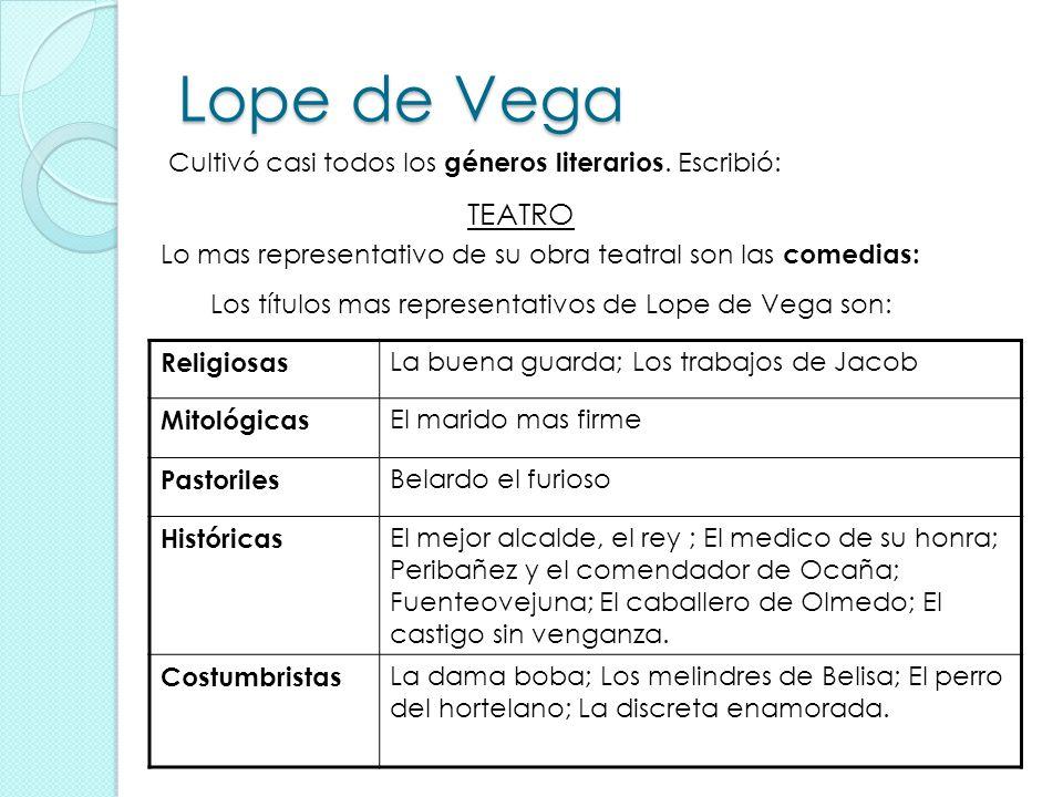 Lope de Vega Cultivó casi todos los géneros literarios. Escribió: TEATRO Lo mas representativo de su obra teatral son las comedias: Los títulos mas re