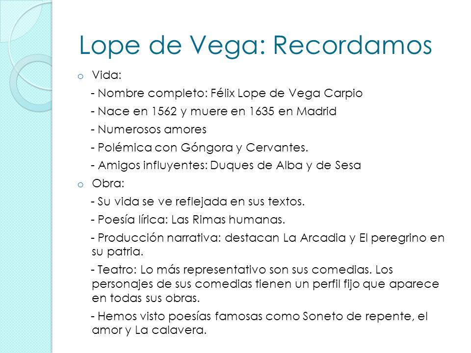 Lope de Vega: Recordamos oVoVida: - Nombre completo: Félix Lope de Vega Carpio - Nace en 1562 y muere en 1635 en Madrid - Numerosos amores - Polémica