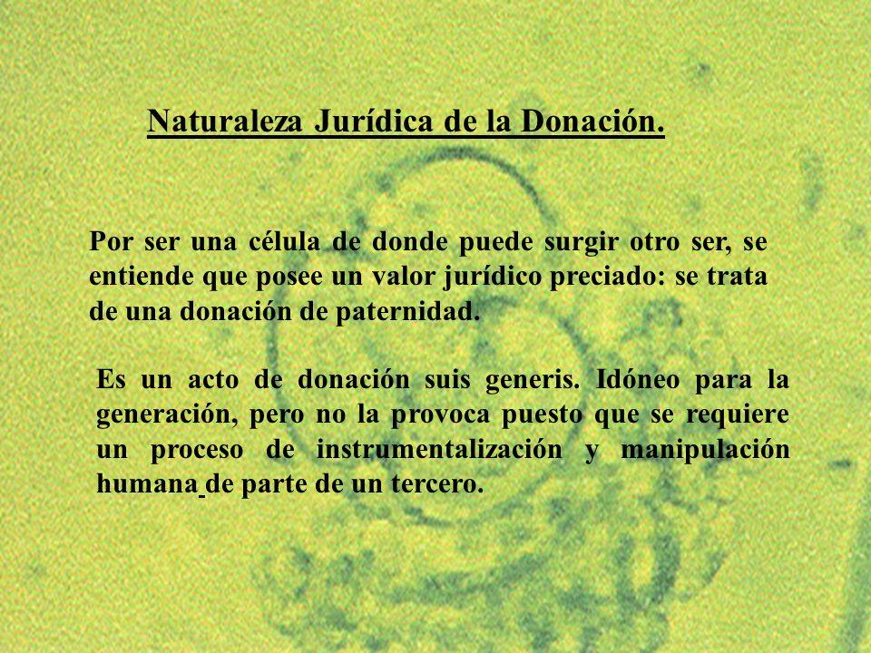10 Naturaleza Jurídica de la Donación. Es un acto de donación suis generis. Idóneo para la generación, pero no la provoca puesto que se requiere un pr