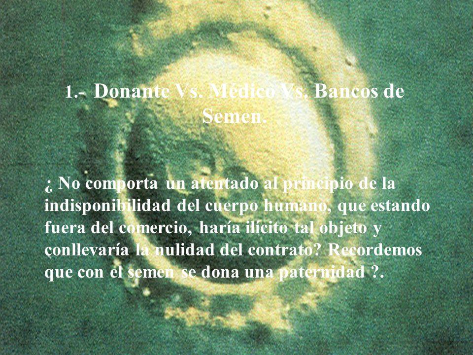 13 1.- Donante Vs. Médico Vs. Bancos de Semen. ¿ No comporta un atentado al principio de la indisponibilidad del cuerpo humano, que estando fuera del