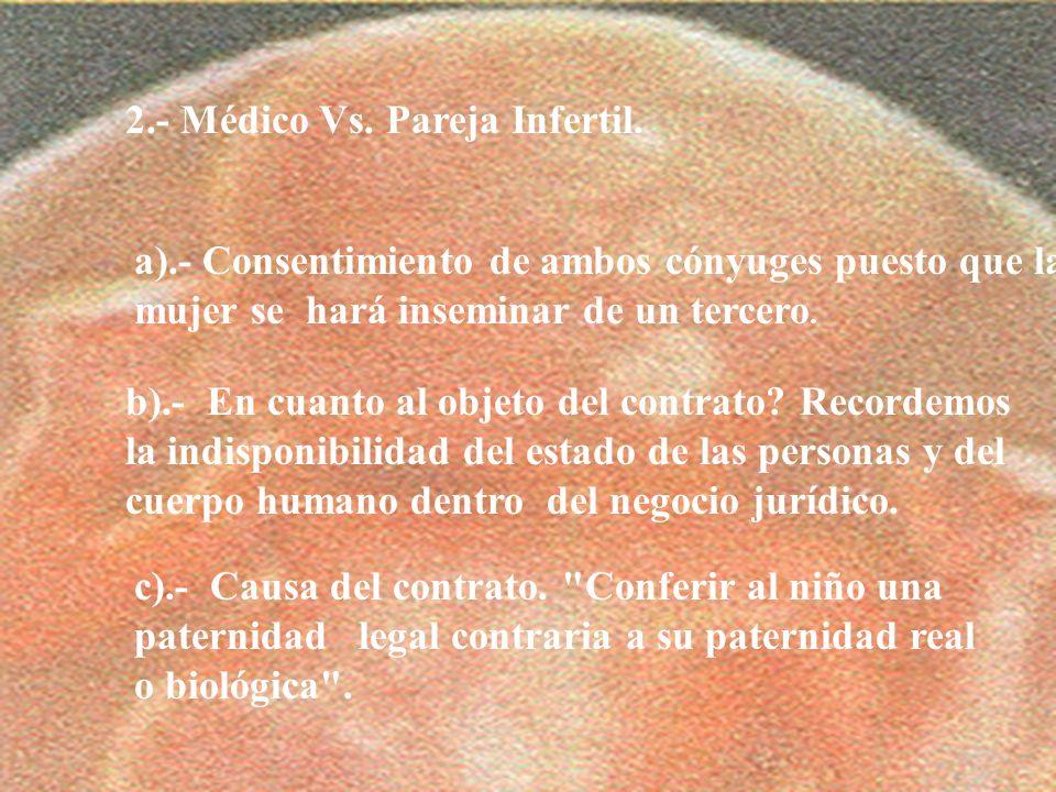 14 2.- Médico Vs. Pareja Infertil. a).- Consentimiento de ambos cónyuges puesto que la mujer se hará inseminar de un tercero. b).- En cuanto al objeto