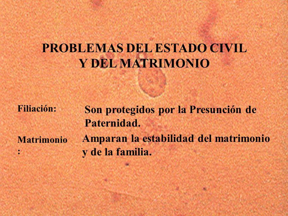8 Filiación: PROBLEMAS DEL ESTADO CIVIL Y DEL MATRIMONIO Son protegidos por la Presunción de Paternidad. Amparan la estabilidad del matrimonio y de la