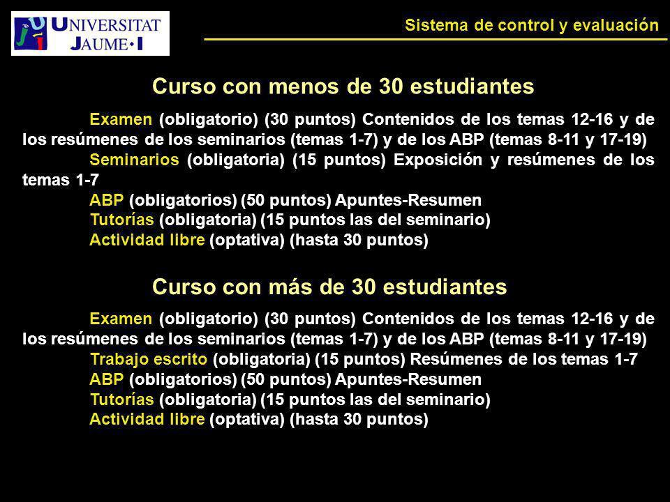 Sistema de control y evaluación Examen (obligatorio) (30 puntos) Contenidos de los temas 12-16 y de los resúmenes de los seminarios (temas 1-7) y de l