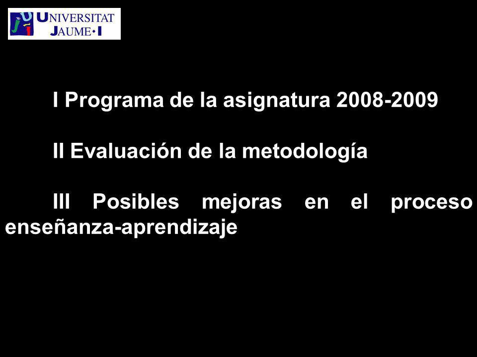 I Programa de la asignatura 2008-2009 II Evaluación de la metodología III Posibles mejoras en el proceso enseñanza-aprendizaje