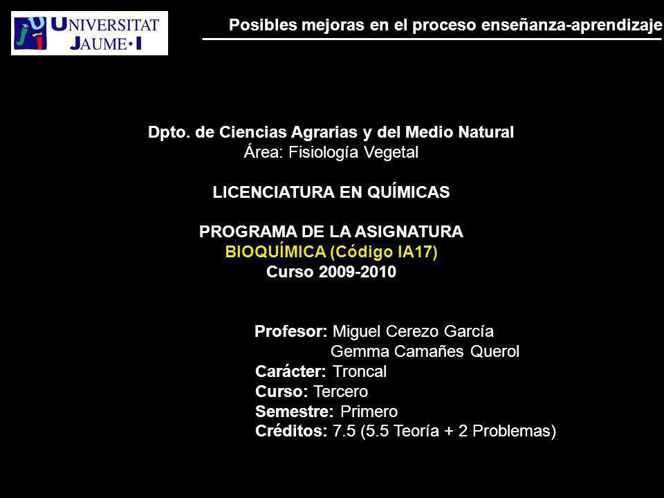 Dpto. de Ciencias Agrarias y del Medio Natural Área: Fisiología Vegetal LICENCIATURA EN QUÍMICAS PROGRAMA DE LA ASIGNATURA BIOQUÍMICA (Código IA17) Cu
