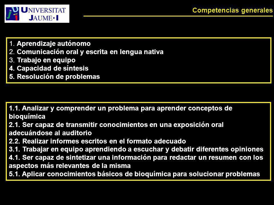 Competencias generales 1. Aprendizaje autónomo 2. Comunicación oral y escrita en lengua nativa 3. Trabajo en equipo 4. Capacidad de síntesis 5. Resolu