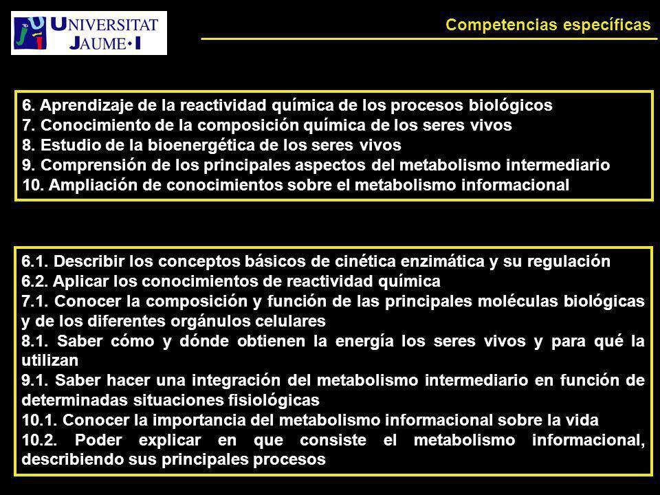 Competencias específicas 6. Aprendizaje de la reactividad química de los procesos biológicos 7. Conocimiento de la composición química de los seres vi