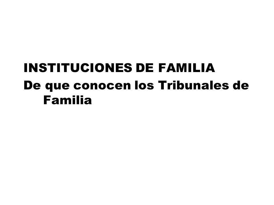 INSTITUCIONES DE FAMILIA De que conocen los Tribunales de Familia