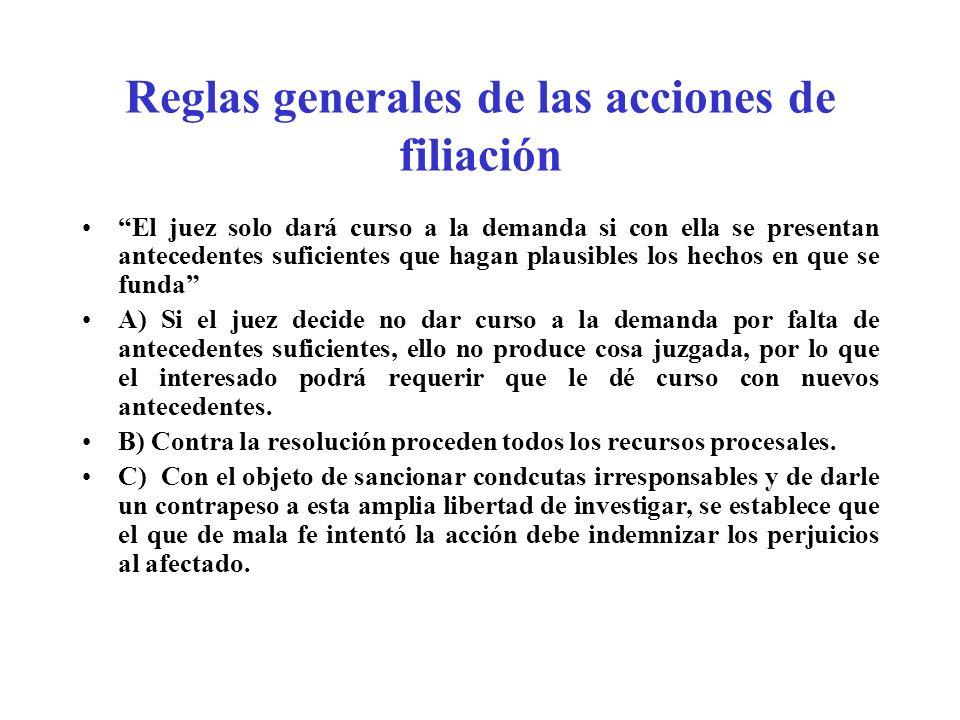 Reglas generales de las acciones de filiación El juez solo dará curso a la demanda si con ella se presentan antecedentes suficientes que hagan plausib
