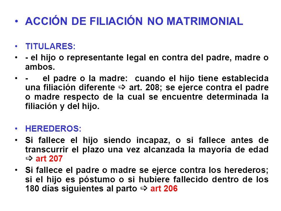 ACCIÓN DE FILIACIÓN NO MATRIMONIAL TITULARES: - el hijo o representante legal en contra del padre, madre o ambos. -el padre o la madre: cuando el hijo