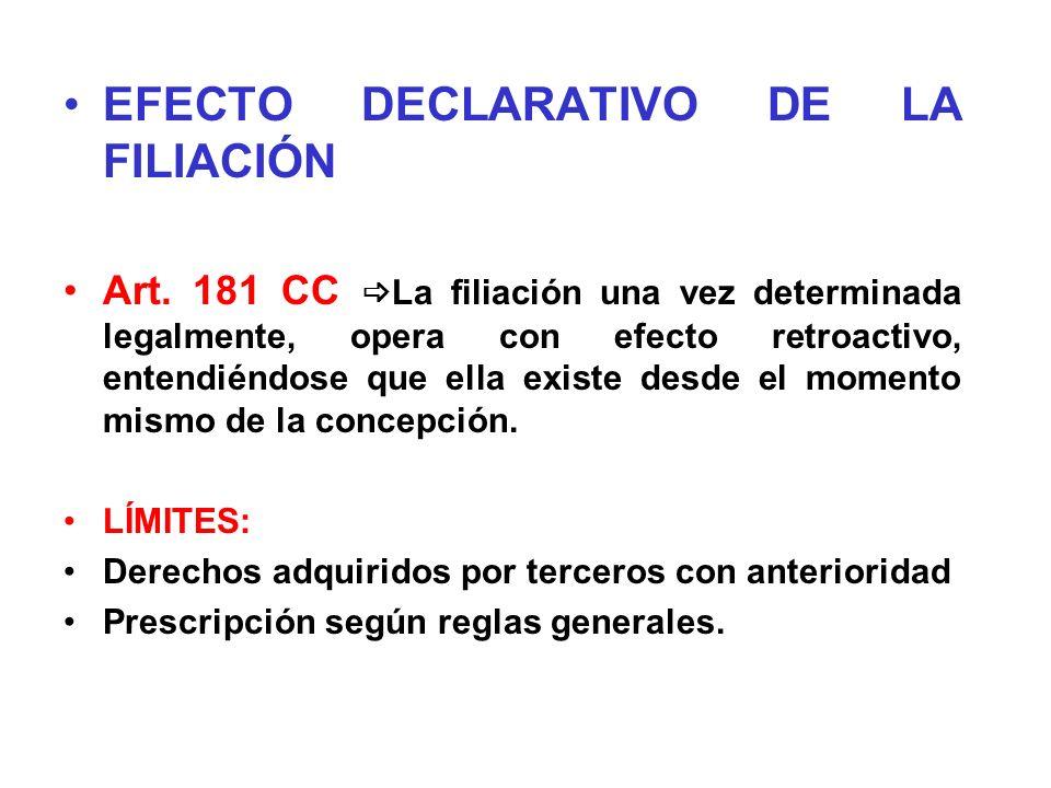 EFECTO DECLARATIVO DE LA FILIACIÓN Art. 181 CC La filiación una vez determinada legalmente, opera con efecto retroactivo, entendiéndose que ella exist
