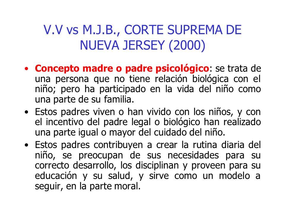 V.V vs M.J.B., CORTE SUPREMA DE NUEVA JERSEY (2000) Concepto madre o padre psicológico: se trata de una persona que no tiene relación biológica con el