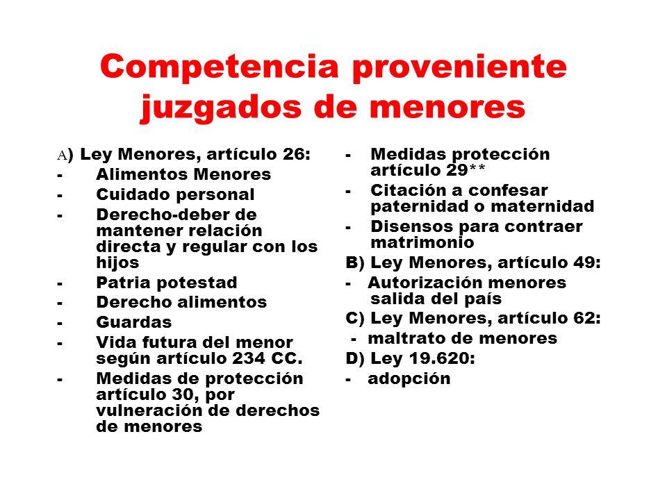 Competencia proveniente juzgados de menores A ) Ley Menores, artículo 26: - Alimentos Menores -Cuidado personal -Derecho-deber de mantener relación di