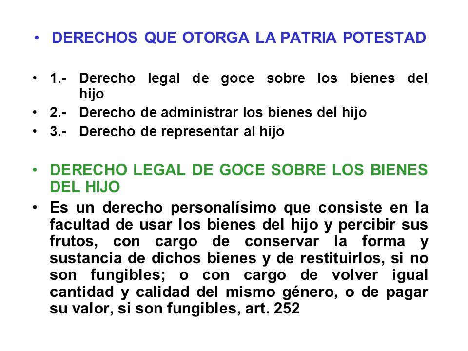 DERECHOS QUE OTORGA LA PATRIA POTESTAD 1.-Derecho legal de goce sobre los bienes del hijo 2.-Derecho de administrar los bienes del hijo 3.-Derecho de