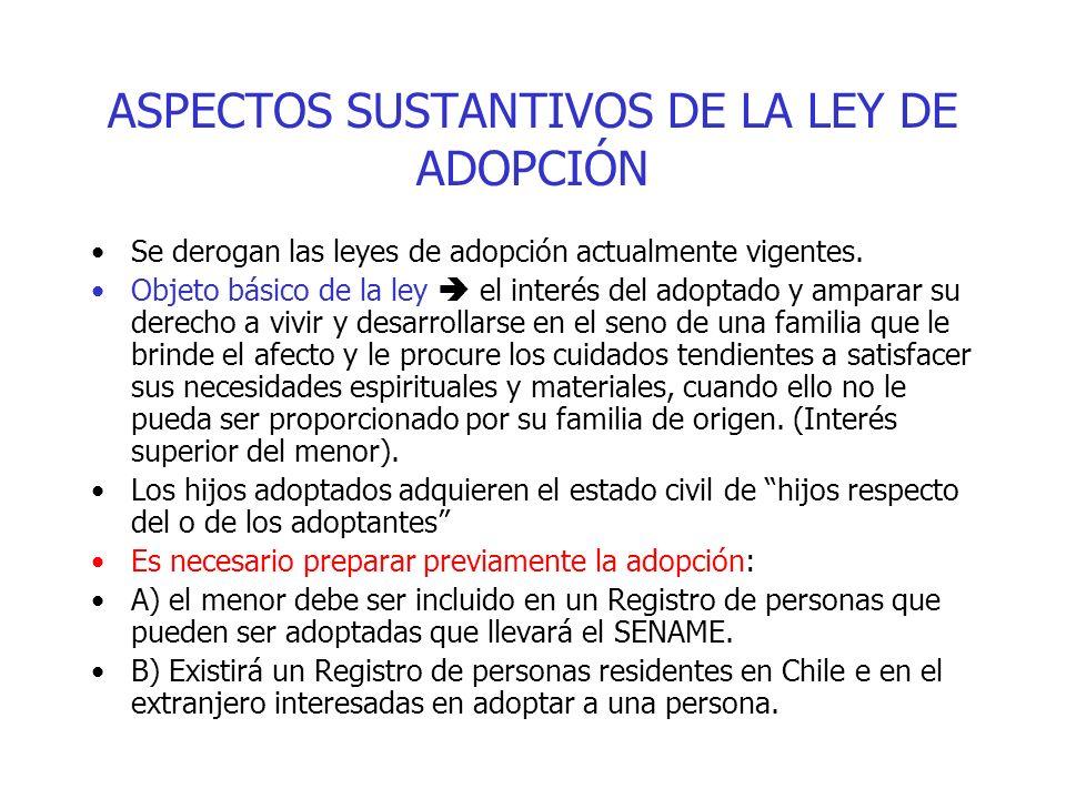 ASPECTOS SUSTANTIVOS DE LA LEY DE ADOPCIÓN Se derogan las leyes de adopción actualmente vigentes. Objeto básico de la ley el interés del adoptado y am