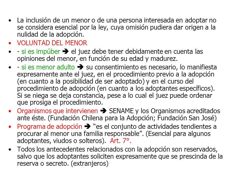 La inclusión de un menor o de una persona interesada en adoptar no se considera esencial por la ley, cuya omisión pudiera dar origen a la nulidad de l
