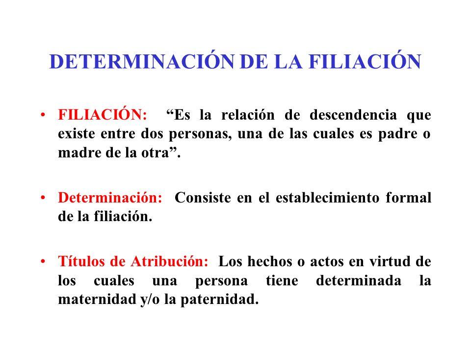 DETERMINACIÓN DE LA FILIACIÓN FILIACIÓN: Es la relación de descendencia que existe entre dos personas, una de las cuales es padre o madre de la otra.