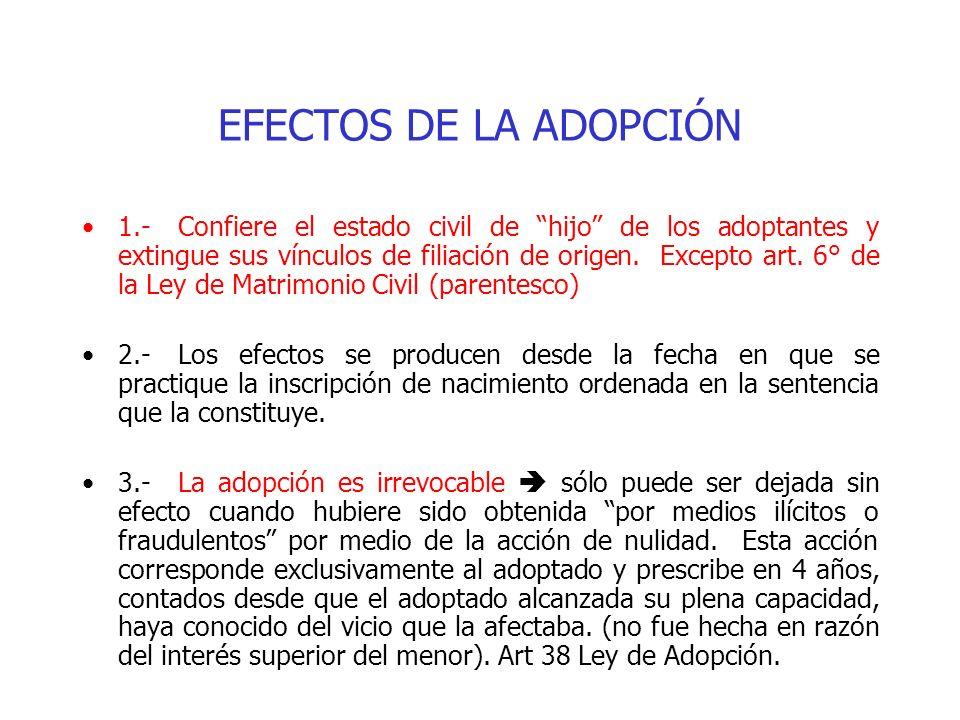 EFECTOS DE LA ADOPCIÓN 1.-Confiere el estado civil de hijo de los adoptantes y extingue sus vínculos de filiación de origen. Excepto art. 6° de la Ley
