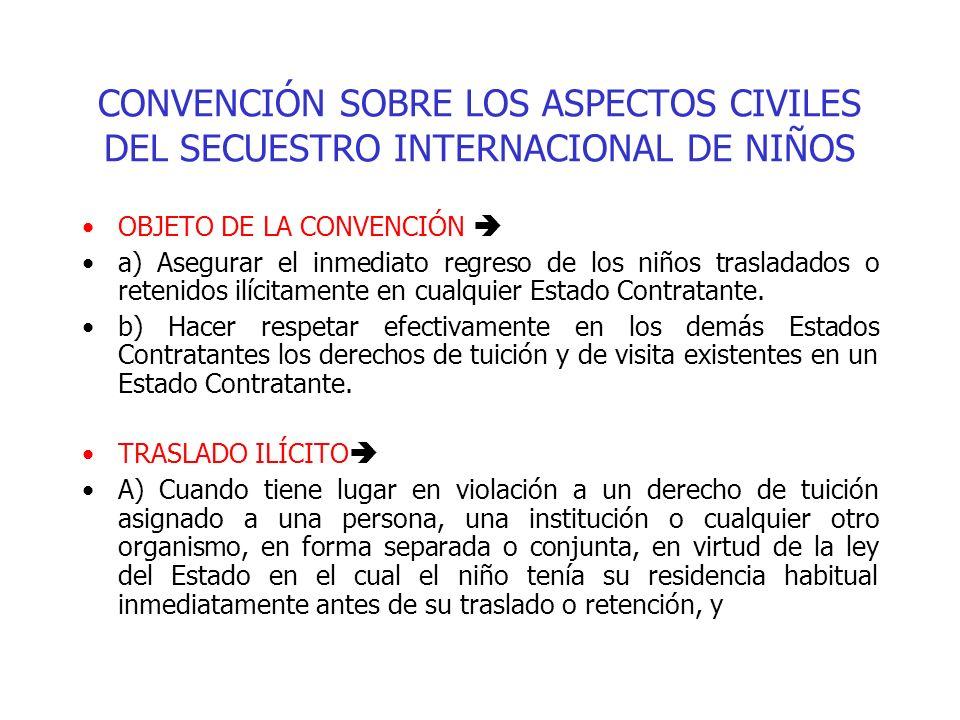 CONVENCIÓN SOBRE LOS ASPECTOS CIVILES DEL SECUESTRO INTERNACIONAL DE NIÑOS OBJETO DE LA CONVENCIÓN a) Asegurar el inmediato regreso de los niños trasl