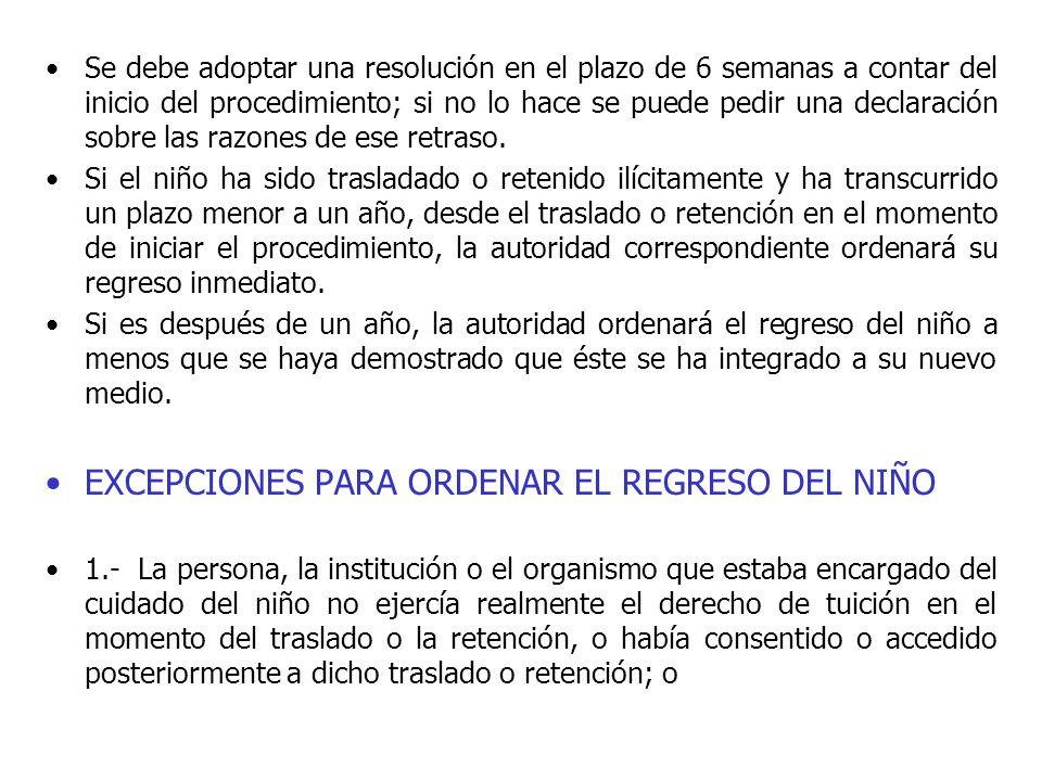 Se debe adoptar una resolución en el plazo de 6 semanas a contar del inicio del procedimiento; si no lo hace se puede pedir una declaración sobre las