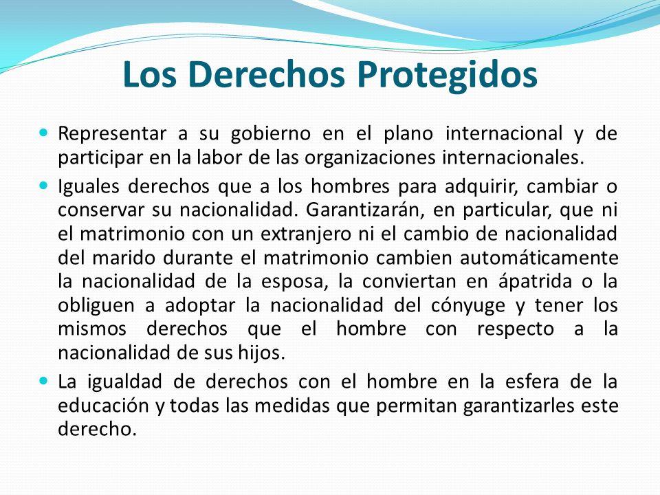 Los Derechos Protegidos Representar a su gobierno en el plano internacional y de participar en la labor de las organizaciones internacionales. Iguales