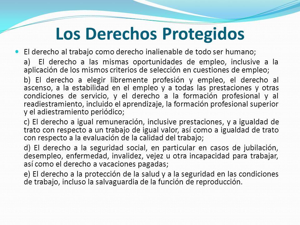 Los Derechos Protegidos El derecho al trabajo como derecho inalienable de todo ser humano; a) El derecho a las mismas oportunidades de empleo, inclusi